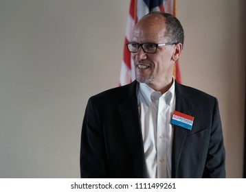 CRANSTON, RHODE ISLAND/USA: DNC Chairman, Tom Perez, attends a fund- raiser for US Senator Sheldon Whitehouse on June 8, 2018, in Cranston Rhode Island
