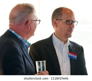 CRANSTON, RHODE ISLAND/USA- JUNE 8, 2018: Chairman of The Democratic National Committee, Tom Perez, attends a fundraiser for United States Senator, Sheldon Whitehouse