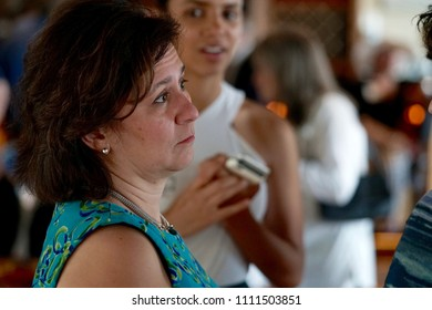 CRANSTON, RHODE ISLAND/USA- Nellie Gorbea, Secretary of State of Rhode Island, attends a fundraiser for US Senator Sheldon Whitehouse on June 8, 2018 in Cranston, RI.