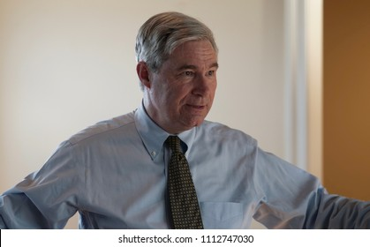 CRANSTON, RHODE ISLAND/USA-JUNE 9, 2018: United States Senator Sheldon Whitehouse speaks at his annual Gaspee Days Party fundraiser on June 9, 2018, in Cranston, RI.