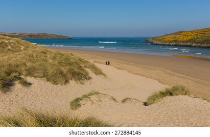 Crantock bay and beach North Cornwall England UK near Newquay and on the South West Coast Path in spring with blue sky and sea