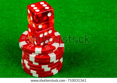 Craps dice and betting chips