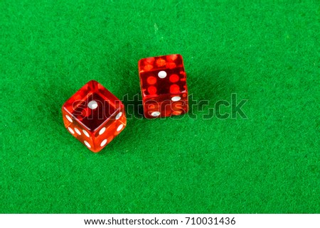 Craps dice showing double one
