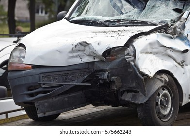 Crash car on accident site
