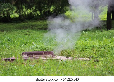 crash pipe hot water under the hatch.  steam and green grass
