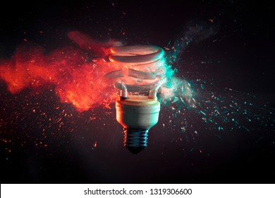 crash of real glass electric modern bulb high speed photography