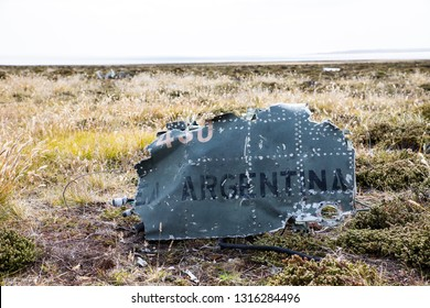 crash site of an argentinian fighter plane on Pebble Island, which was shot down in the war, Falkland Islands, South Atlantic