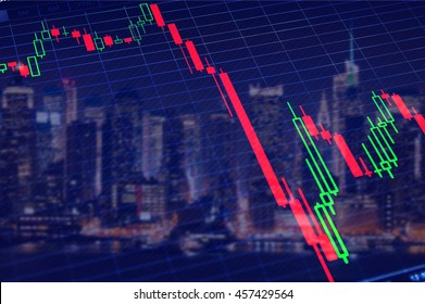 Crash of stock market. Collapse volatile graph.