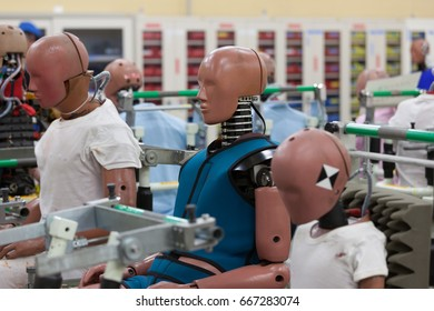 Crash Test Dummies in the Laboratory of a Car Manufacturer in Japan.