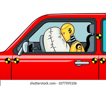 Crash test dummy in car after accident pop art retro raster illustration. Isolated image on white background. Comic book style imitation.