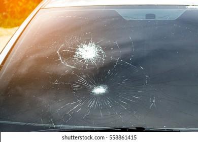 Crash windshield glass of car, the broken and damaged car
