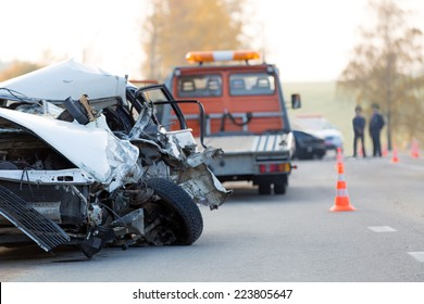 Crashed car automobile collision accident at road