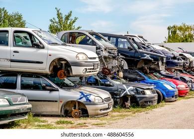 crashed cars junkyard scrap material stack automobile Ferrara, Italy, 17-09-2016