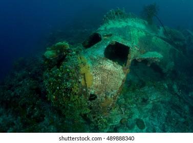 Crashed plane underwater