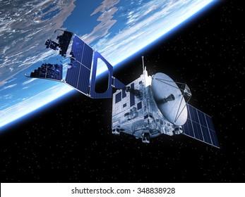 Crashed Satellite In Space. 3D Scene.