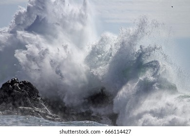 Crashing big sea wave against rocks splash and spray.