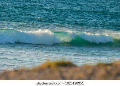 Crashing wave in Baja California Sur, Mexico with shallow depth of field on beach in foreground.
