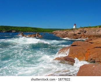 Crashing Waves at Lighthouse