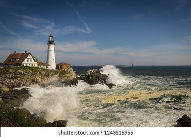 Crashing Waves at Portland Head Lighthouse - Cape Elizabeth, Maine, USA