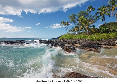 Crashing Waves in Tropical Beach (Makena Cove, Maui HI)