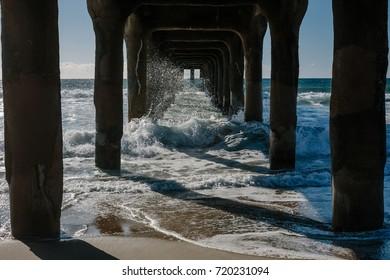 Crashing Waves Underneath the Manhattan Beach Pier