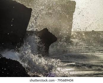 Crashing waves  Views around the Caribbean island of Curacao
