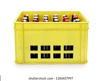 Crate with beer bottles isolated on white, contains clipping path