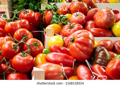 Crate of Fresh Mixed Tomatoes on Sale in Borough Market, Southwark, London UK