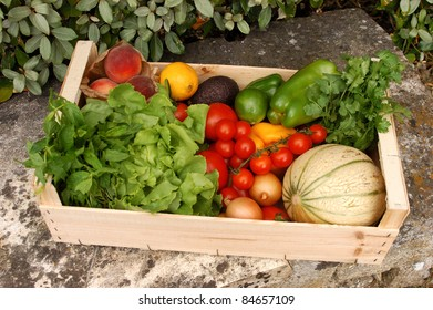 Crate of fruit and vegetables from the market