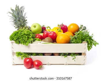 Crate with fruits and vegetable