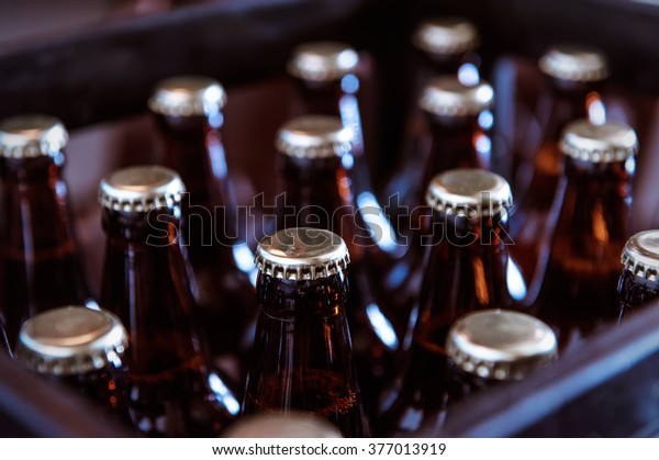 Crate with full beer bottles