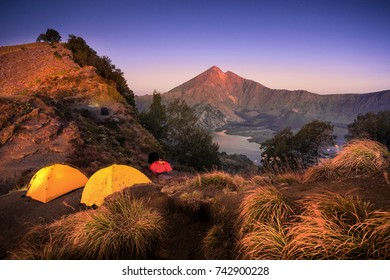Crater, Anak Rinjani and lake view of Mount Rinjani from Senaru rim. Mount Rinjani is an active volcano in Lombok, Indonesia. Motion Blur and Soft Focus due to Long Exposure Shot
