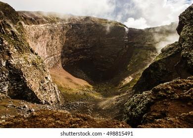 Crater of dormant Vesuvius volcano, Naples, Italy