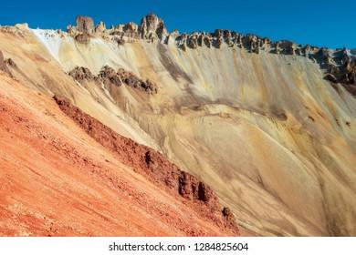 crater erosion of Tunupa volcano in Bolivia by sunny morning