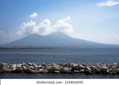 Crater of Italy biggest volcano Vesuvius.  Panorama view. High quality photo.