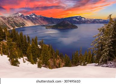 Crater Lake image taken at Sunset