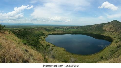 Crater lake Kitagata in the Queen Elizabeth National Park, Uganda.