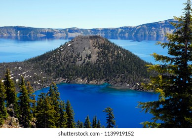 Crater Lake National Park, Oregon / USA - July 10, 2010: A view of the island in the middle of Crater Lake, Crater Lake National Park, Oregon, July 10, 2010.