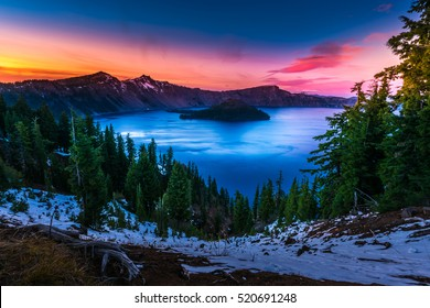 Crater Lake National Park Oregon Cold Winter Sunset Sky