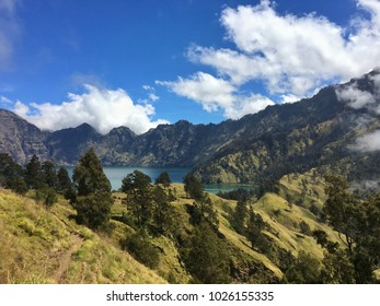 A crater lake on top of Gunung Rinjani on the island of Lombok in Indonesia