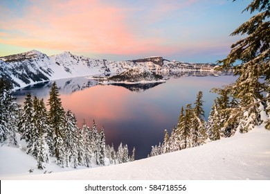 Crater Lake, Oregon at sunset in winter