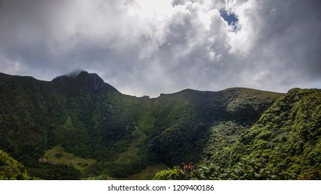 The crater of Mount Liamuiga also known as Mt. Misery, a dormant volcano on Saint Kitts and Nevis in the Caribbean