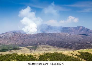 Crater of the Mount Naka, Mount Aso, Kumamoto prefecture, Japan