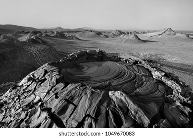 crater of the mud volcano, Gobustan reserve, Azerbaijan
