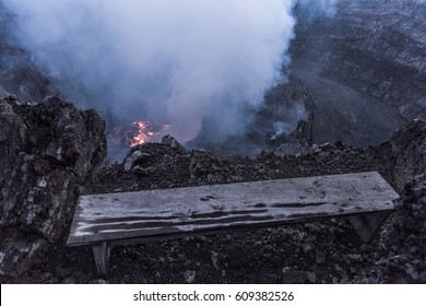 Crater of nyiragongo volcano in eruption