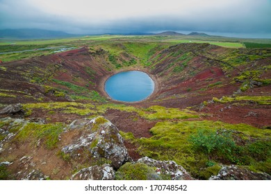 Crater of a old active volcano Kerith filled with water. Iceland, Europe