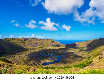 Crater of Rano Kau Volcano, Easter Island, Chile