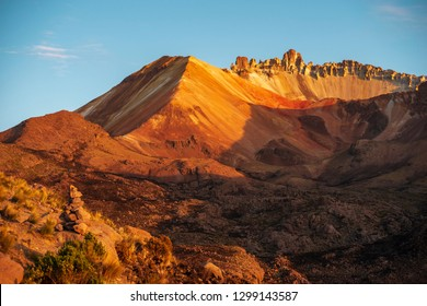 crater of Tunupa volcano by sunny morning in Bolivia