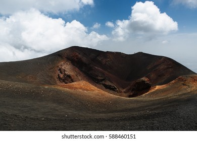 Crater of volcano Etna in Sicily, Italy