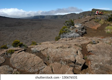 Crater of volcano La Fournaise on Reunion island, France